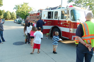 Members of the West Allis Fire Dept. brought a fire truck for children to check out.