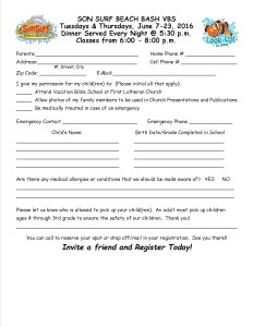 2016 Registration form